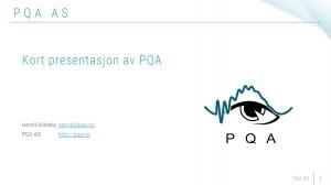 Kort presentasjon om PQA