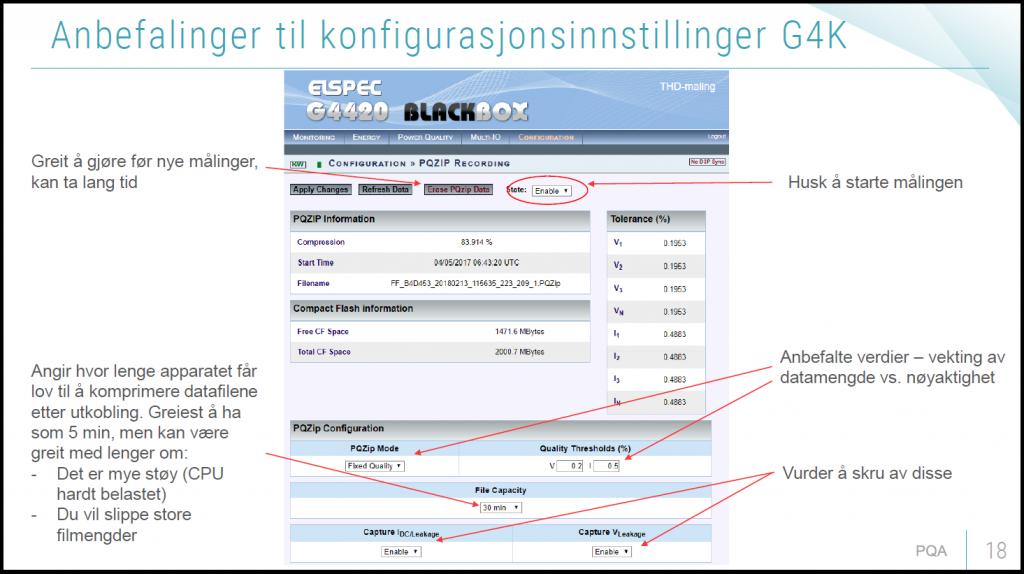 Anbefalinger til konfigurasjonsinnstillinger for G4k
